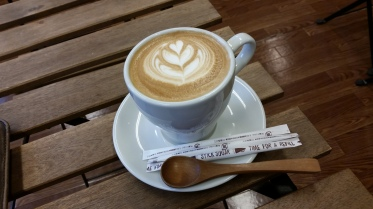 Coffee in a shop as it rained in Omura, getting my drivers licence converted!