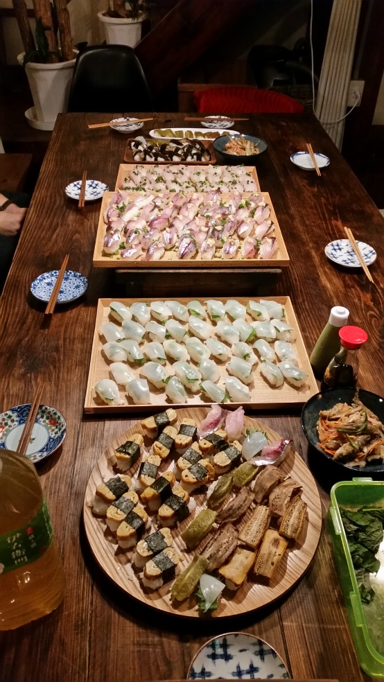Hand made sushi party at Minatoya's! The Only hostel on Iki!