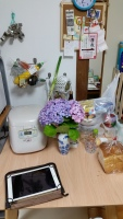 The pretty Hydrangea's on my table!