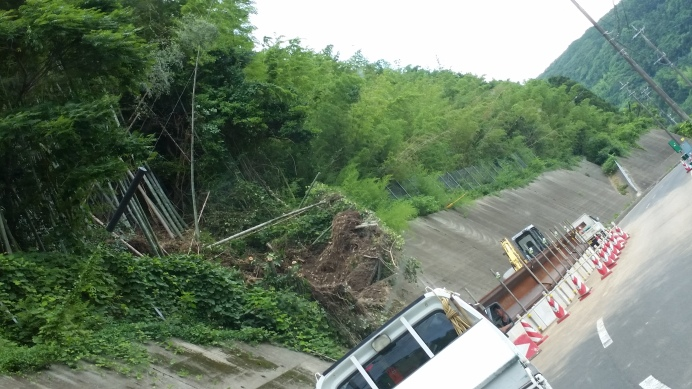 landslide on the way to Aeon shopping center from Katsumoto on highway 23. This one was pretty bad and is still reduced to one lane after a month!