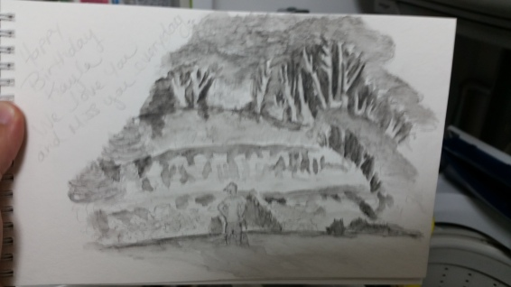My first watercolour painting from dragon island! Thats the landslide of the cliff on the beach!
