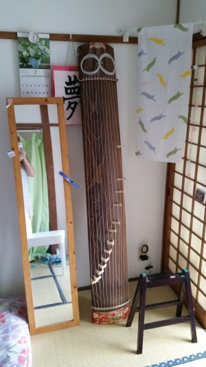 How I safely stored my koto in July when I got to practice at home!