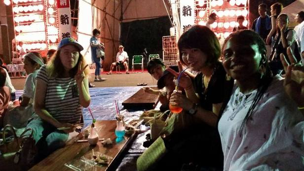 Enjoying matsuri fried food with friends!